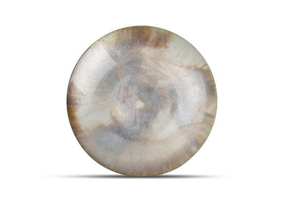 Plat décoratif 40xH6,5cm verre argenté Cosmo