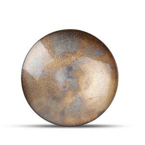 Plat décoratif 33xH6cm verre couleur bronze Cosmo