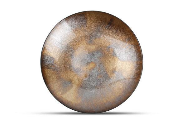 Plat décoratif 40xH6,5cm verre couleur bronze Cosmo
