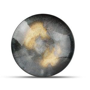 Plat décoratif 33xH6cm verre noir Cosmo