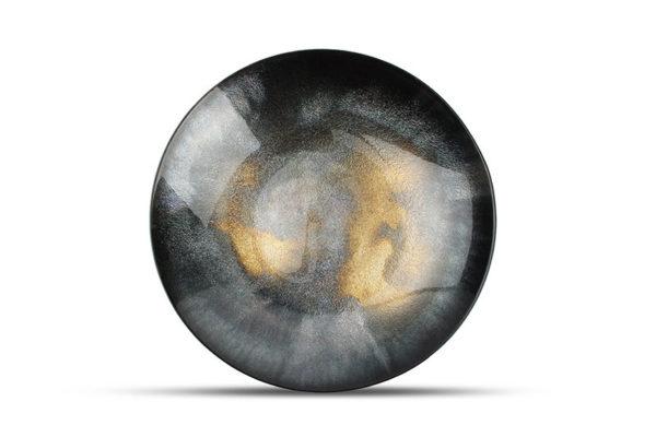 Plat décoratif 40xH6,2cm verre noir Cosmo