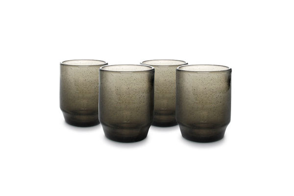 Verre 34cl empilable smoked Drip - set/4