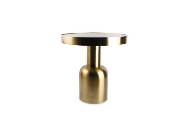 Table gigogne 49xH51cm métal doré+dessus verre Ovo