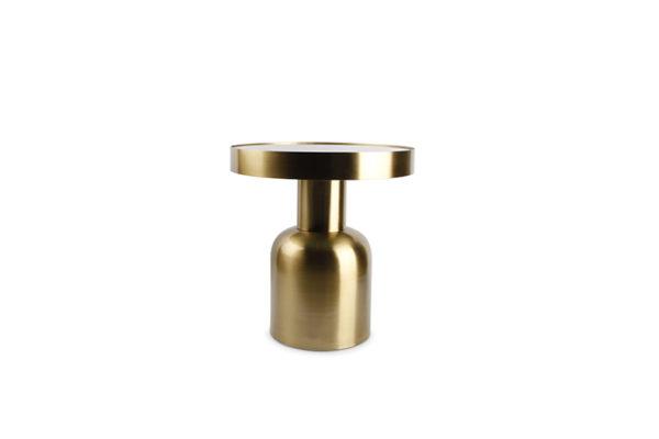 Table gigogne 39xH42cm métal doré+dessus verre Ovo