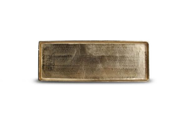 Plat décoratif 37 cm x 14 cm or Charm