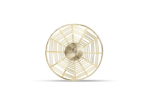 Panier métallique 17xH4,5cm rond doré Mazy