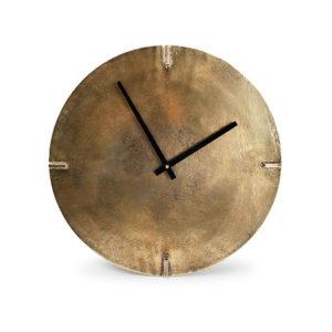 Horloge murale 38cm rond métal couleur cuivre Zone
