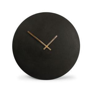 Horloge murale 38cm rond métal noir Zone