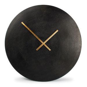 Horloge murale 75cm rond métal noir Zone