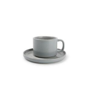 Tasse 17 cl et soucoupe gris Lava