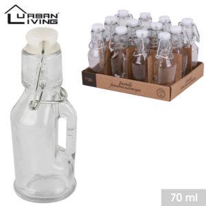 mini bouteille en verre 70 ml avec bouchon clip