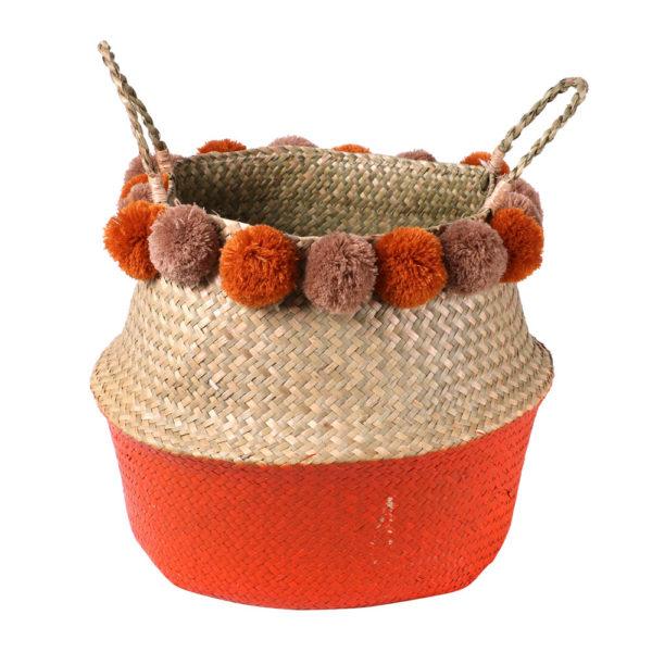 paniers avec pompons de couleur orange diam 40 cm H 32 cm