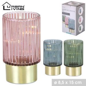 lampe en verre coloré avec socle en métal doré et ampoule Led