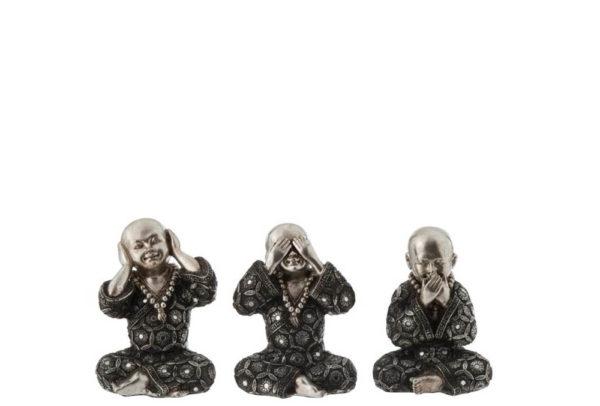 Set de 3 moines argent (10,5x10x15 cm)