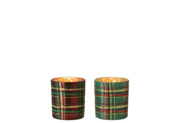 Photophore quadrillé verre coul. Vert/rouge (7x7x8cm)