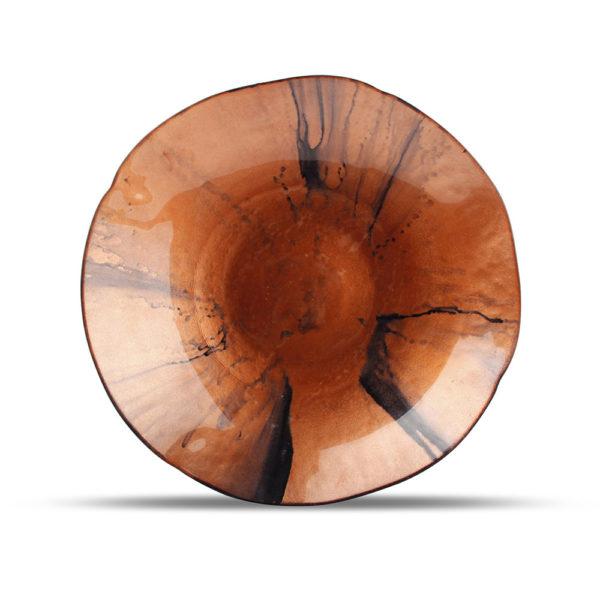 plat décoratif rouge/bronze Guna 40 x H 6,5 cm
