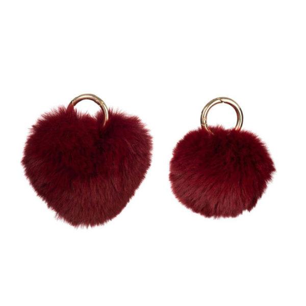 Porte-clefs boule ou cœur rouge bordeaux